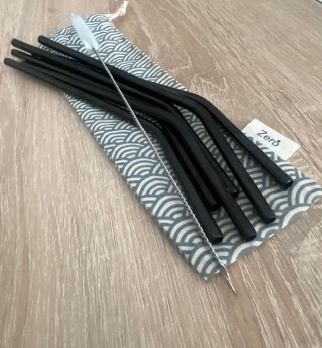 6 Pailles courbées en inox réutilisables 30€